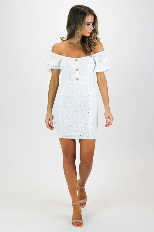 EYELET PUFF SLEEVE MINI DRESS
