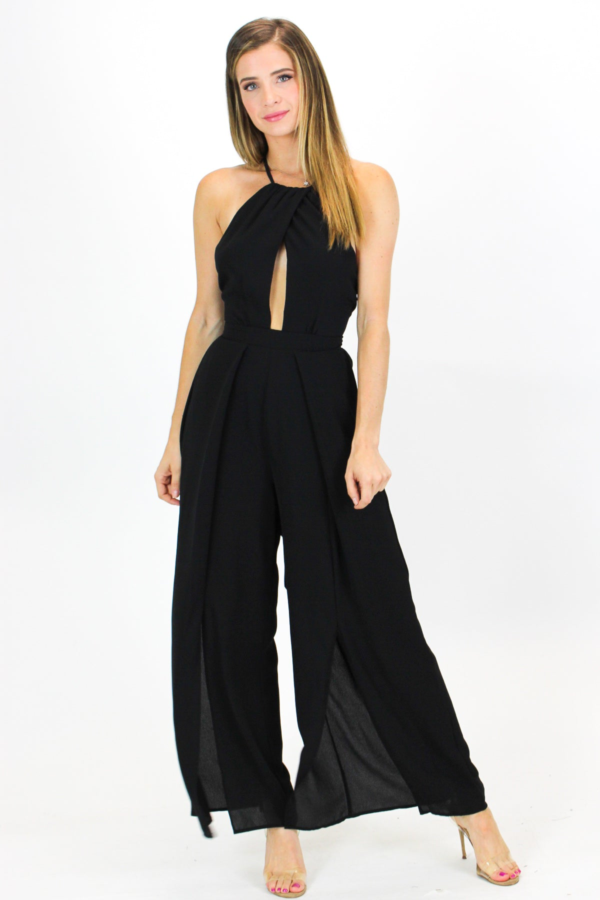 BLACK SLITTED HALTER JUMPSUIT