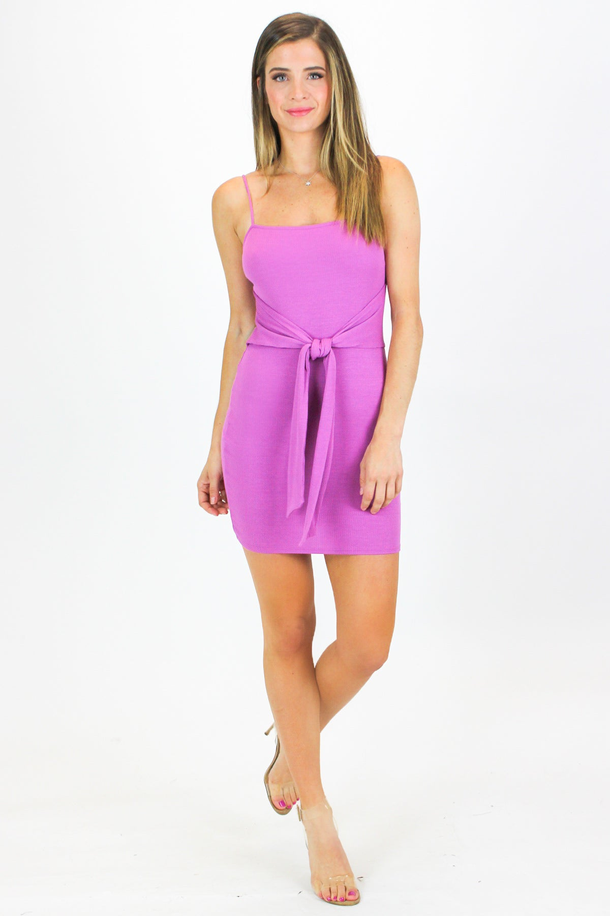 ORCHID TIE FRONT RIBBED MINI DRESS