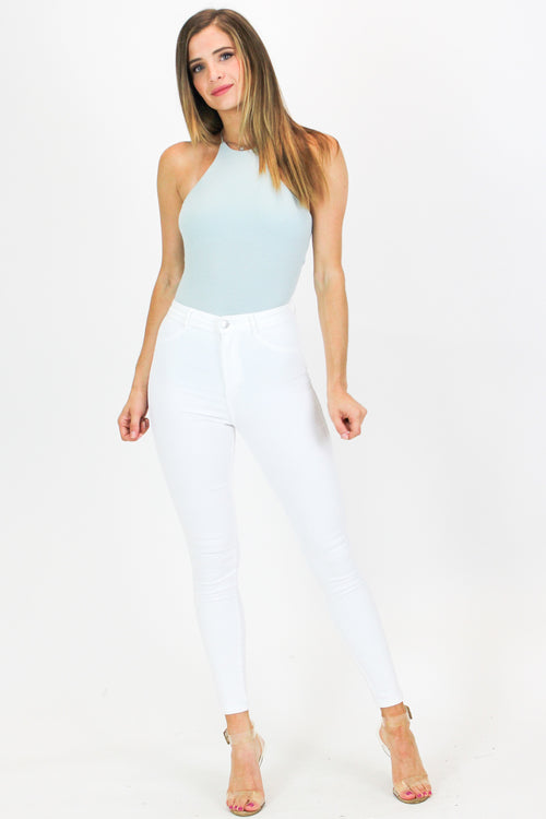 RIBBED RACER BODYSUIT IN LIGHT BLUE