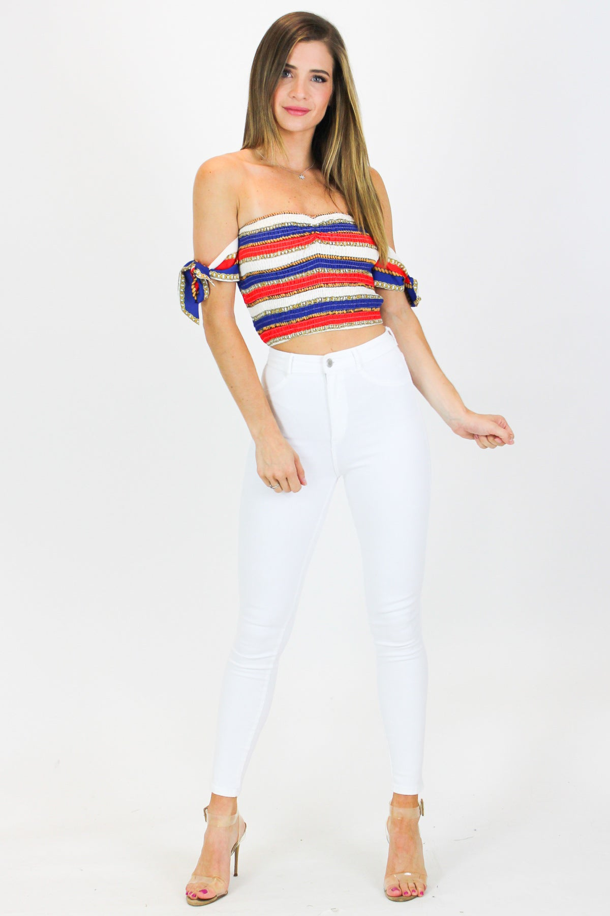 CHAIN SMOCKED CROP TOP