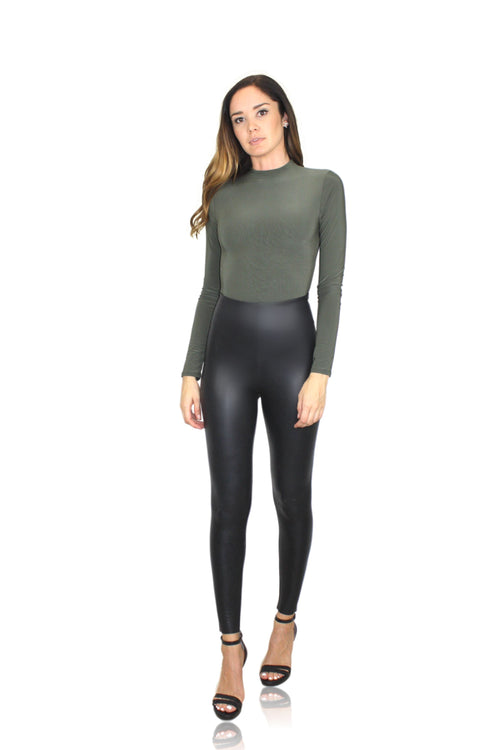 LUX LONG SLEEVE MOCK NECK BODYSUIT IN OLIVE / FINAL CLEARANCE