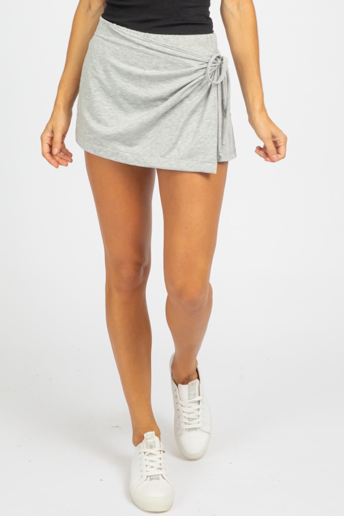 HEATHER GREY KNIT SKORT