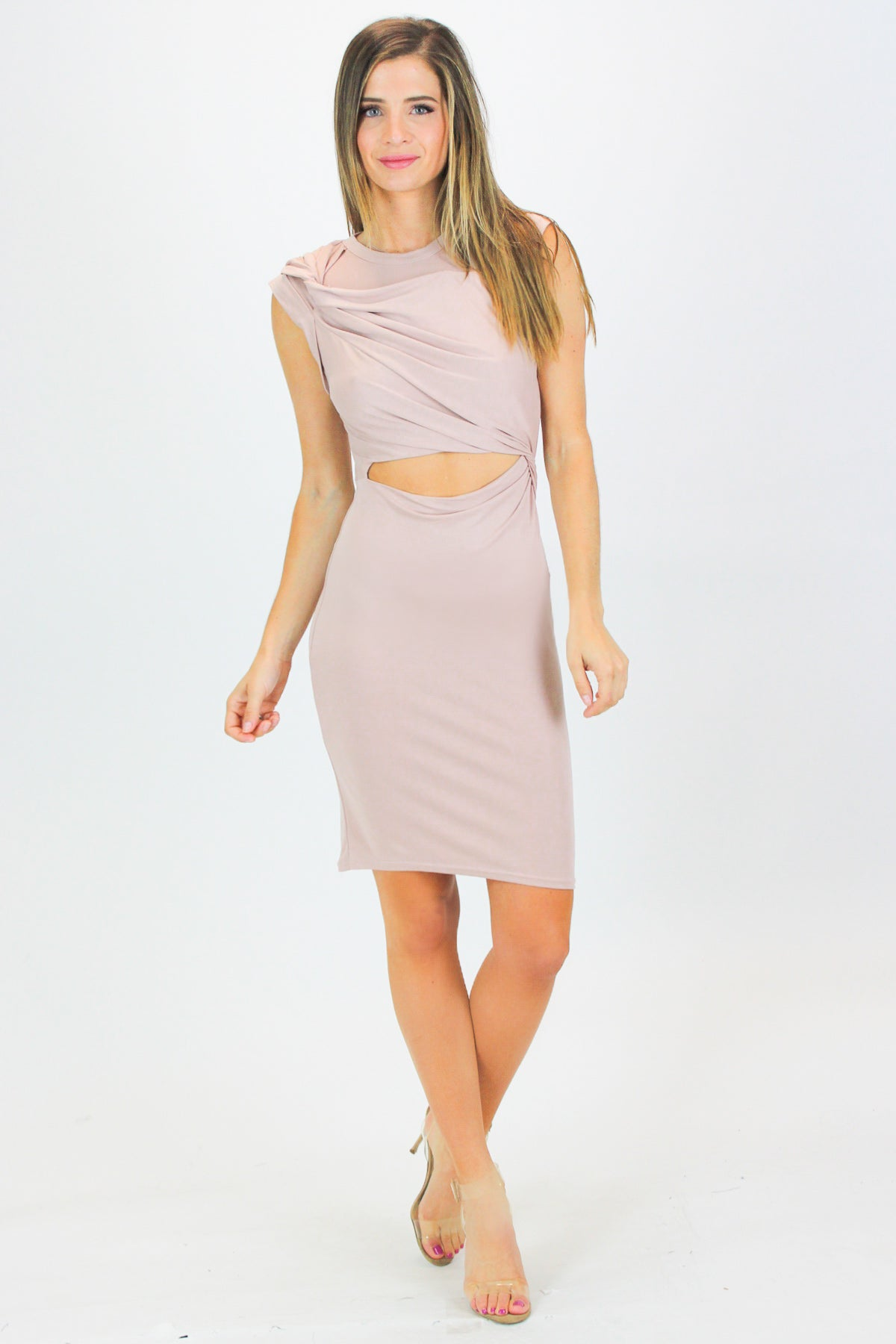 BLUSH TWIST KNOT CUTOUT DRESS