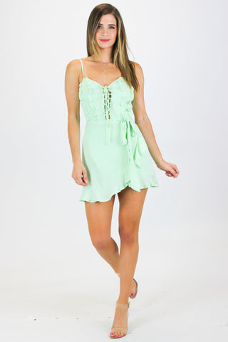 ASYMMETRICAL CAMI BODYSUIT IN MINT / FINAL CLEARANCE