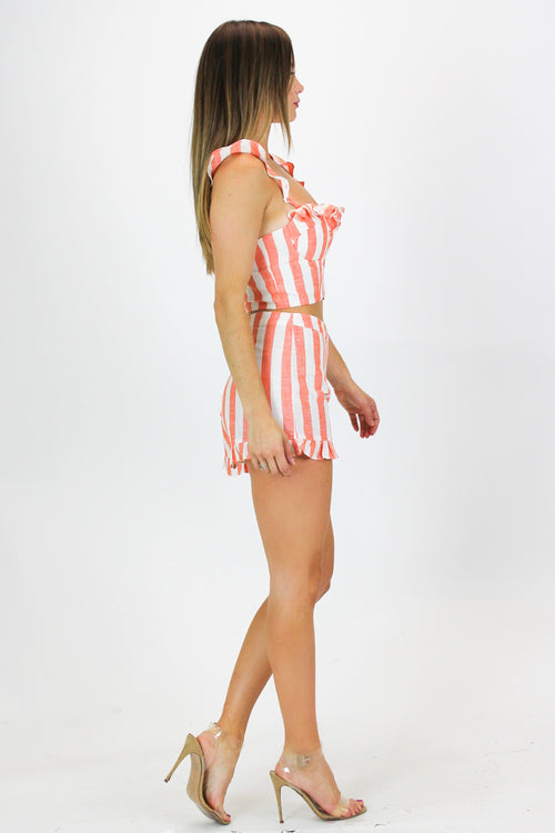 CORAL LINEN STRIPE SET