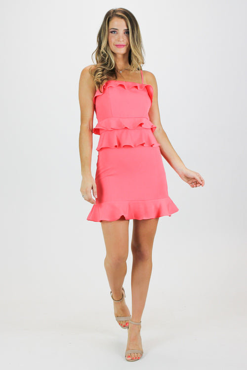CORAL LAYERED RUFFLE MINI DRESS