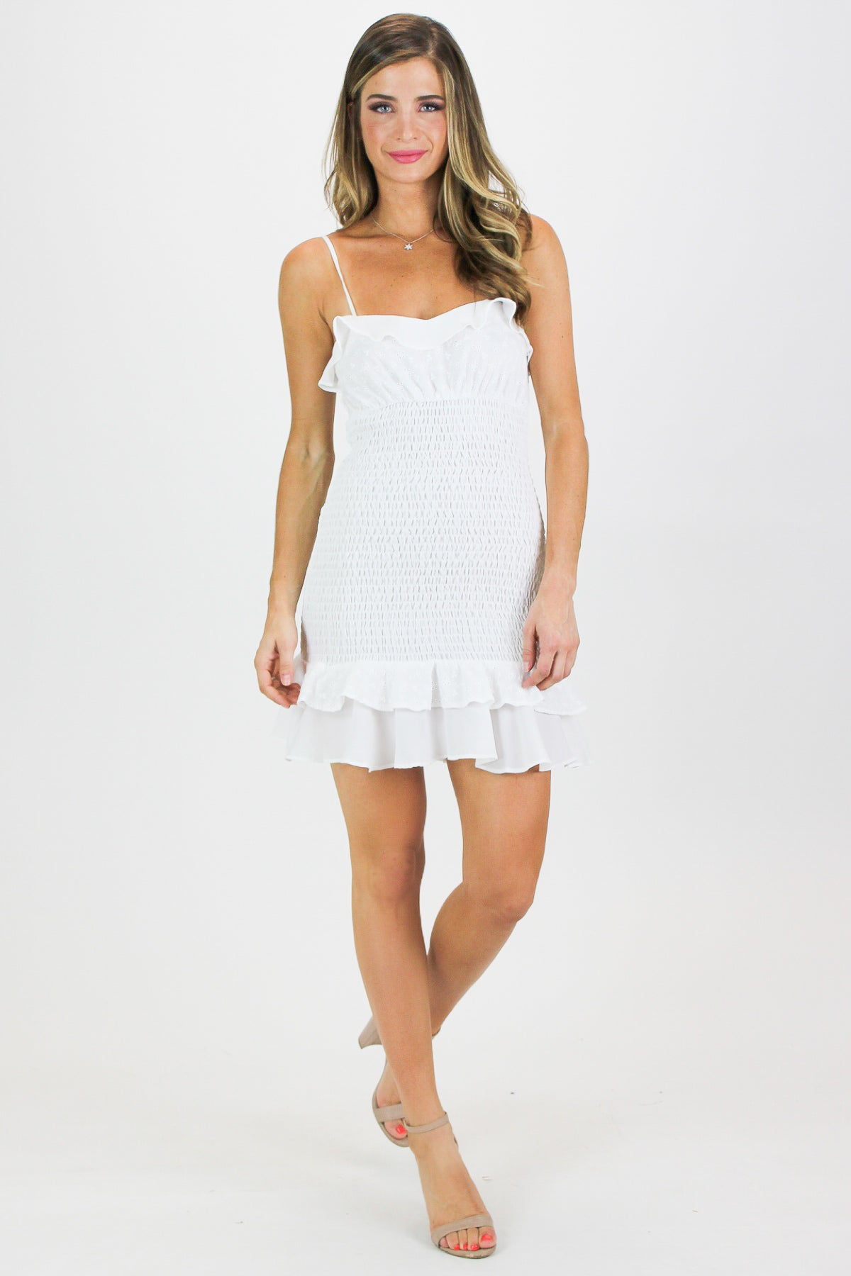 RUFFLE SMOCKED MINI DRESS IN WHITE