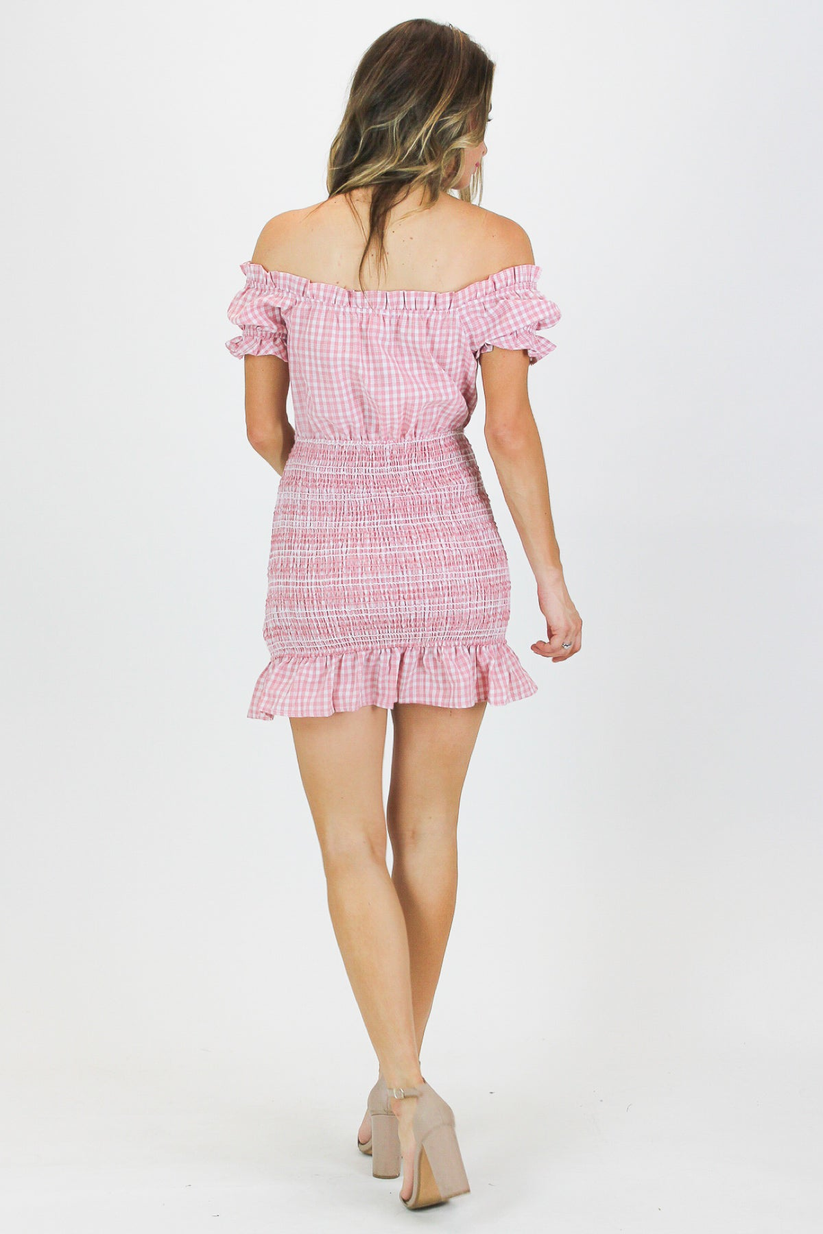 BLUSH CHECK SMOCKED DRESS