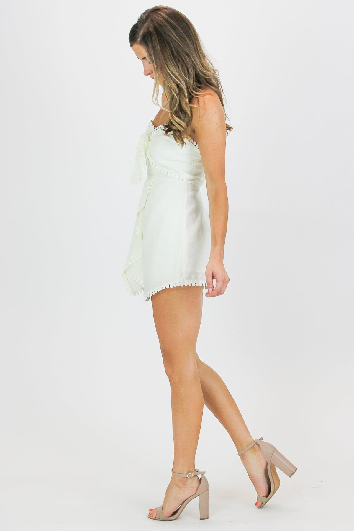 DOTTED FRONT TIE ROMPER IN CREAM / FINAL SALE