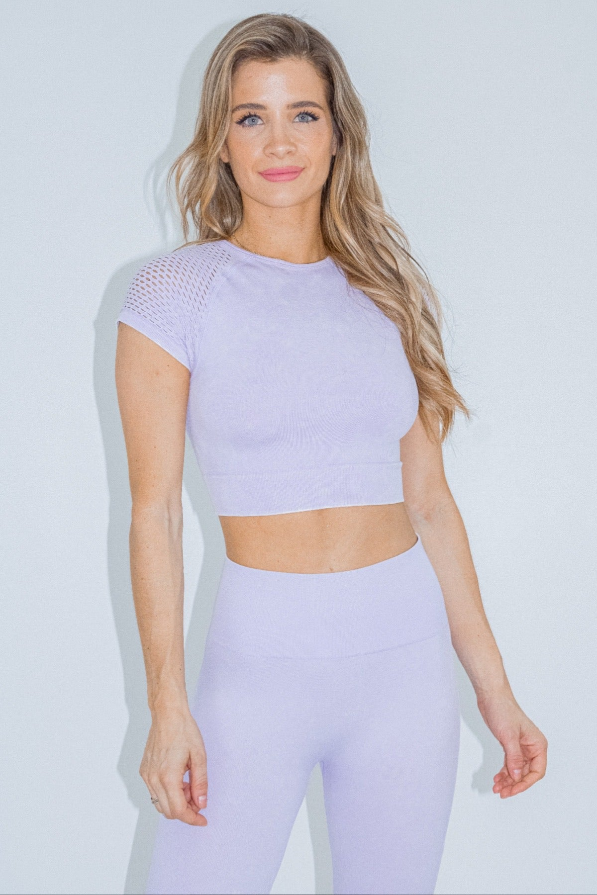 LAVENDER MESH SLEEVE CROP TOP