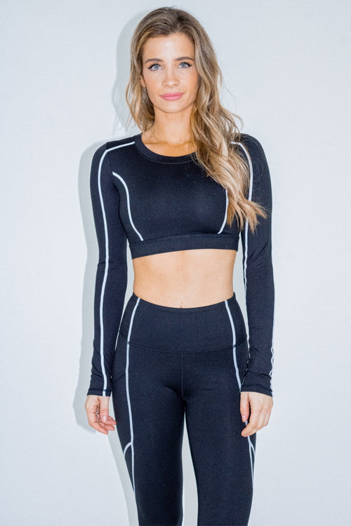BLACK CONTRAST STITCH CROP TOP