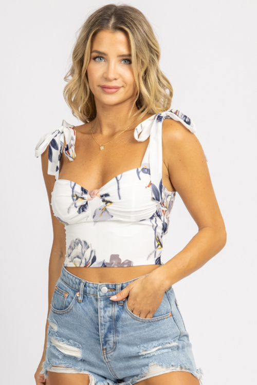 FLORAL TIE SLEEVE BUSTIER CROP TOP