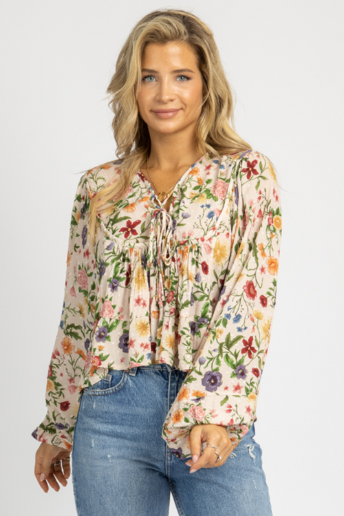 FLOWER FIELDS BUBBLE SLEEVE BLOUSE