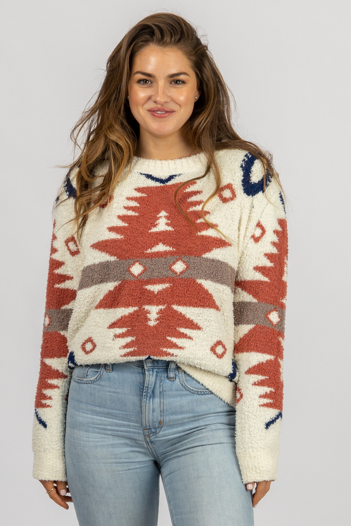 SOFT AZTEC PRINT SWEATER