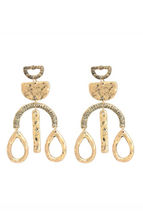 GOLD ALLOY DANGLE EARRING