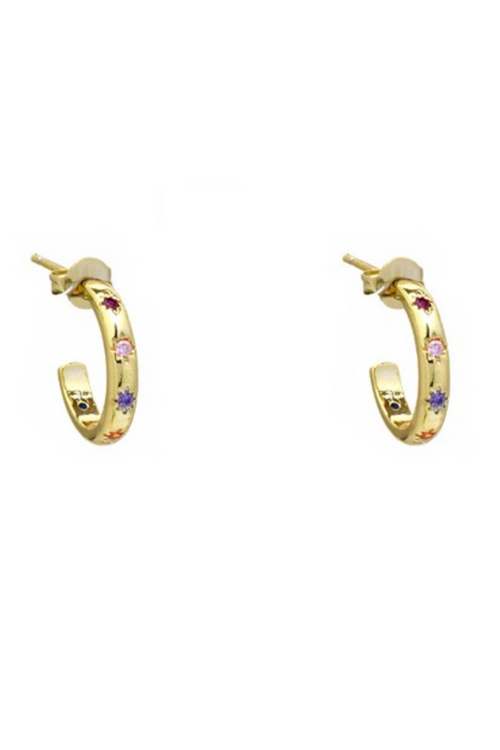 GOLD MULTICOLOR HOOPS