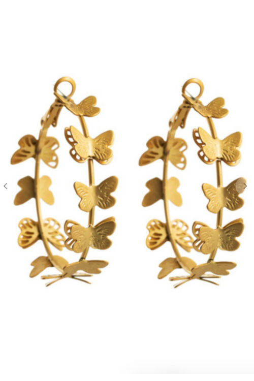 GOLD BUTTERFLY HOOPS