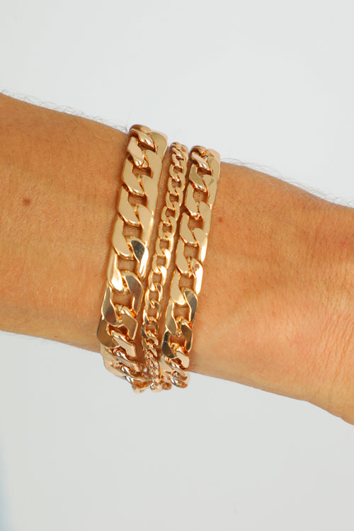 GOLD CHAIN BRACELET SET