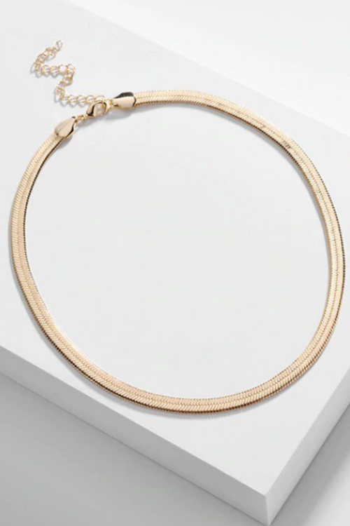 GOLD HERRINGBONE CHAIN CHOKER