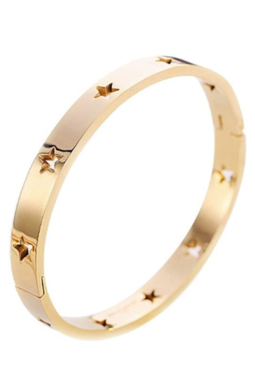 GOLD STAINLESS STEEL STAR CUFF