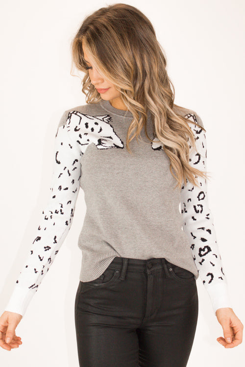 GRAY SNOW LEOPARD KNIT