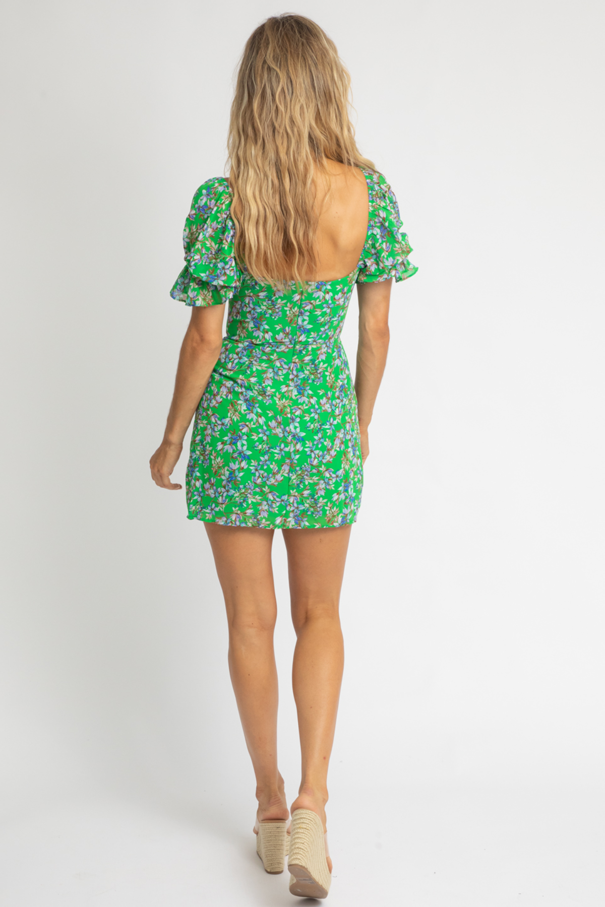 GREEN FLORAL PUFF SLEEVE MINI