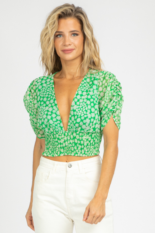 GREEN FLORAL SMOCKED CROP