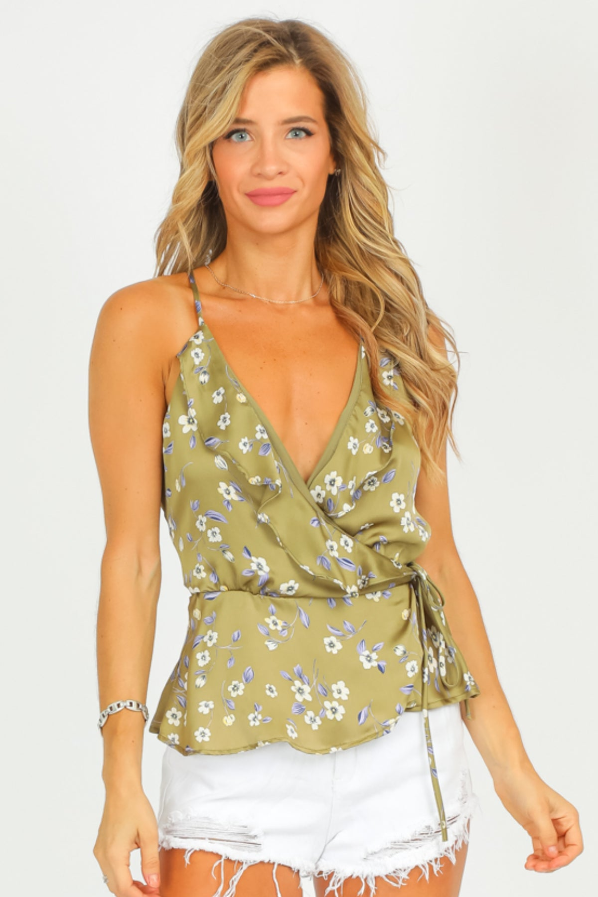 OLIVE FLORAL WRAP TANK