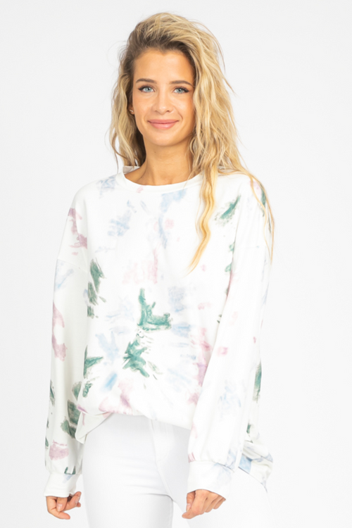GREEN-MULTI TIE DYE SWEATSHIRT