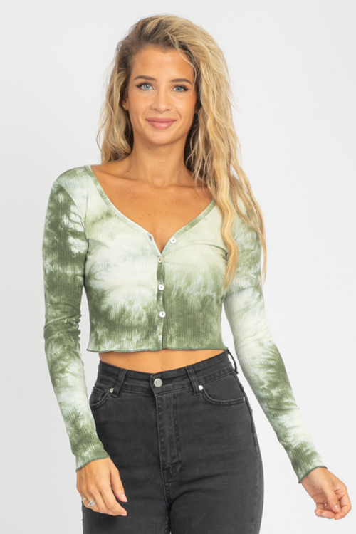 GREEN TIE DYE CROP KNIT