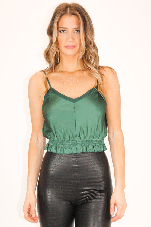GREEN SATIN SMOCK TOP