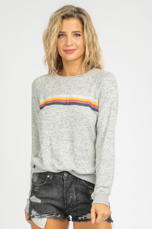 GREY BRUSHED MULTISTRIPE SWEATSHIRT