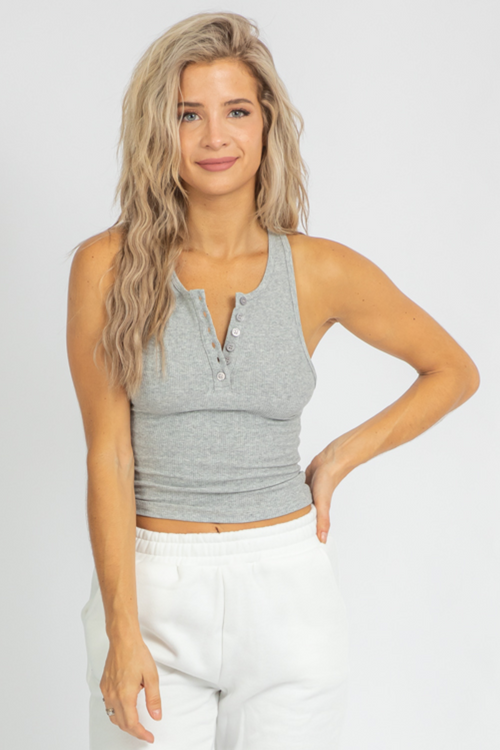 GREY BUTTON FRONT TANK