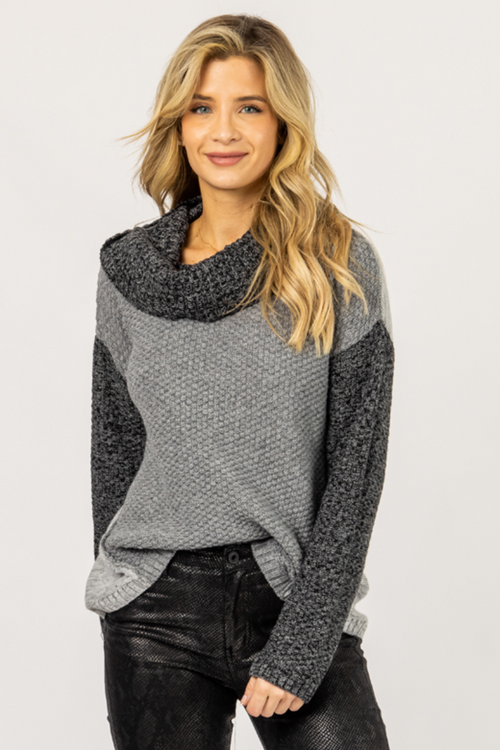 CHARCOAL CONTRAST TURTLENECK KNIT