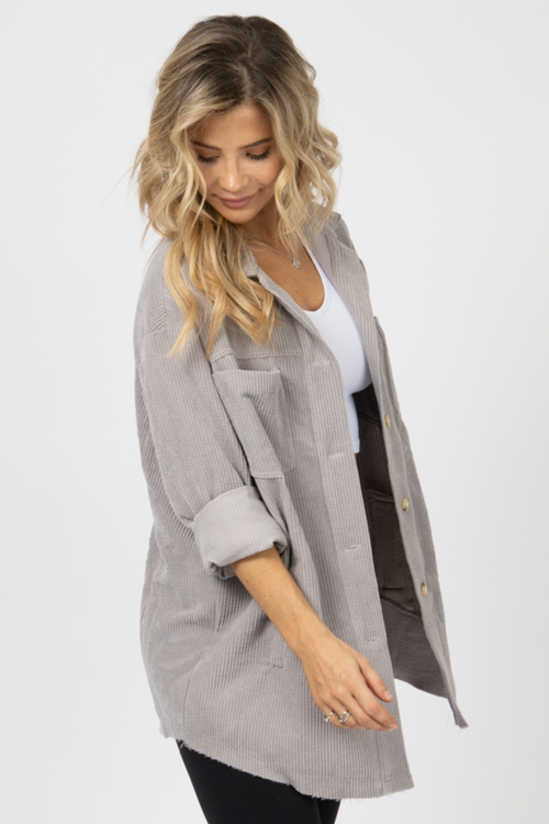 GREY CORDUROY SHIRT JACKET