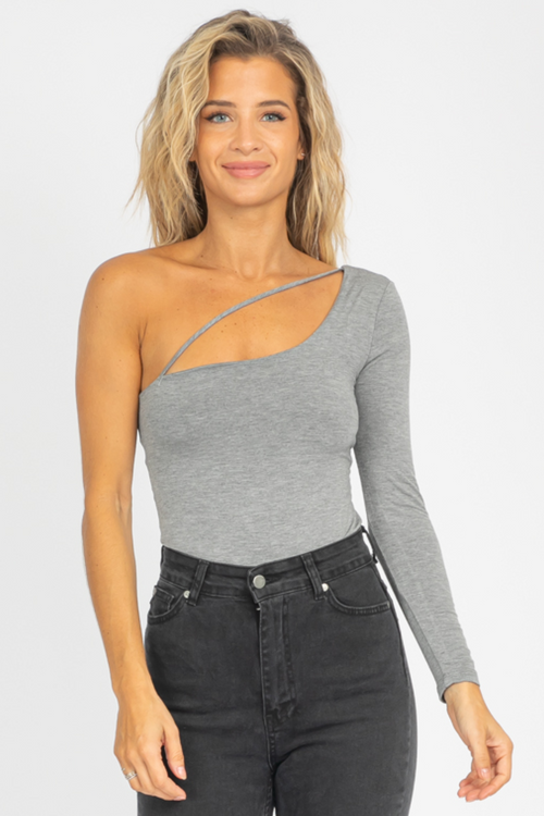 GREY ONE SHOULDER DIAGONAL STRAP TOP