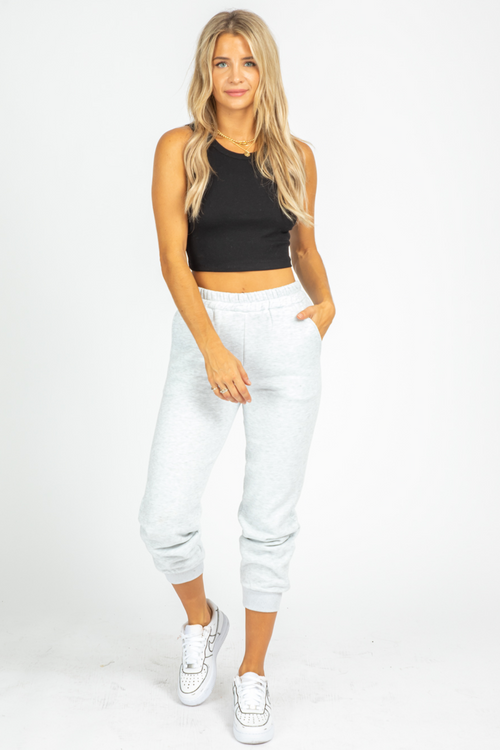 GREY FLEECED BASIC JOGGER
