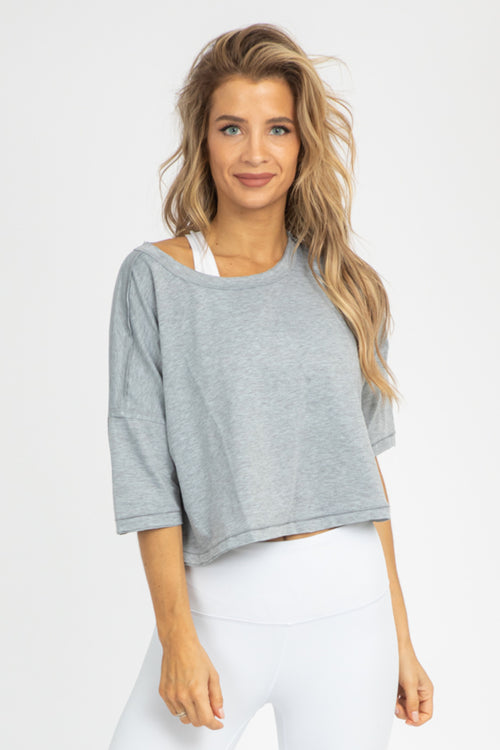 HEATHER GREY JERSEY CROP