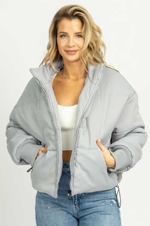 GRAY QUILTED PUFFER JACKET