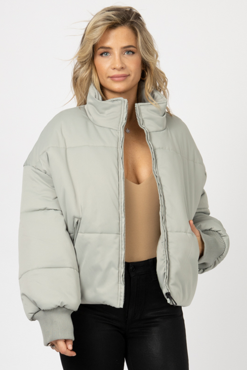 SAGE QUILTED PUFFER JACKET