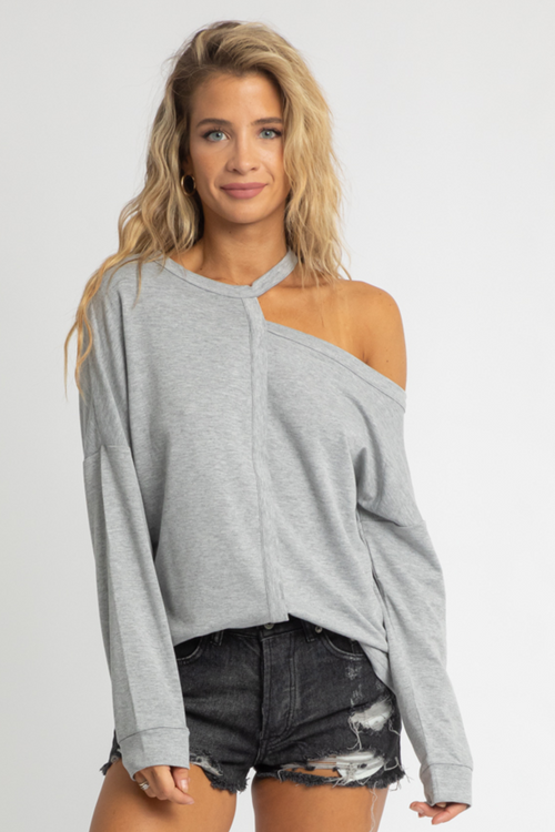 GREY SHOULDER CUTOUT PULLOVER
