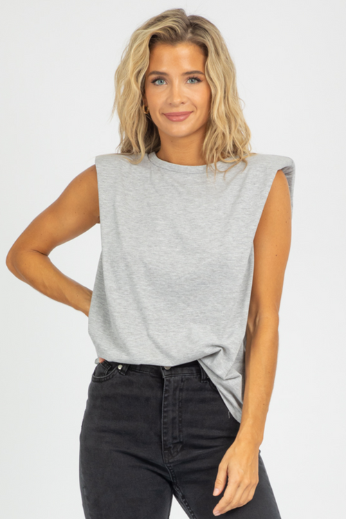 GREY SHOULDER PAD TANK