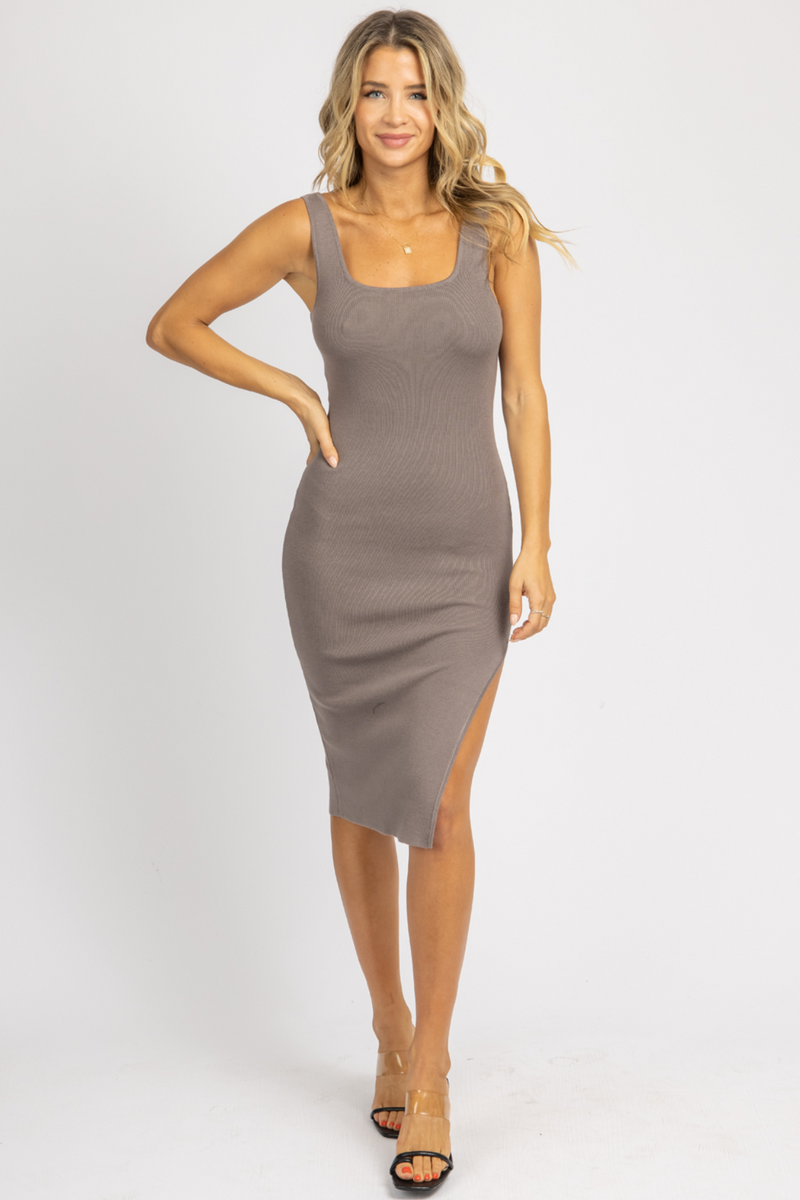 GREY SIDE SLIT KNIT MIDI