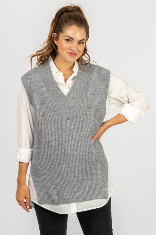 GREY SWEATER VEST + BUTTON DOWN