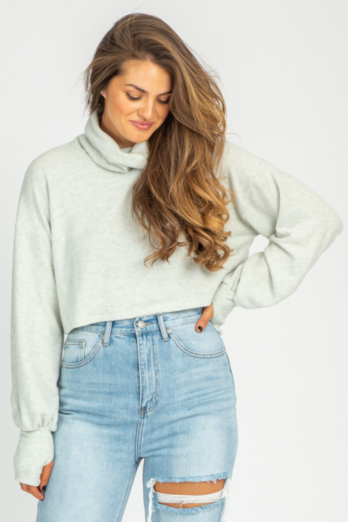 GREY TURTLENECK THUMBHOLE SWEATER