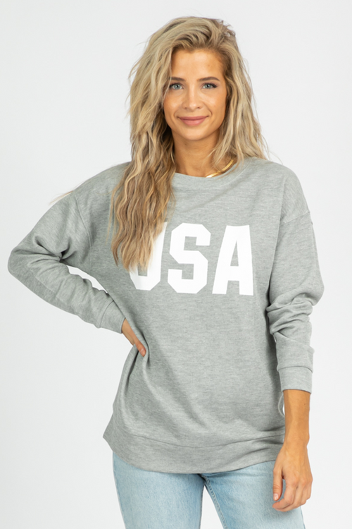 GREY USA GRAPHIC SWEATSHIRT