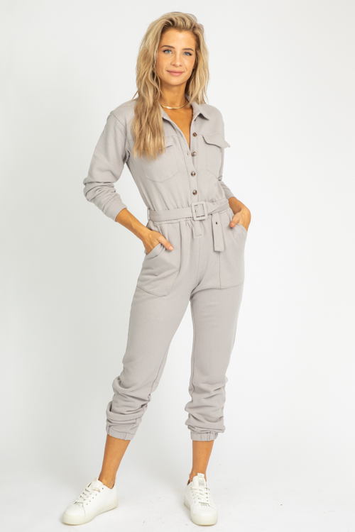 LIGHT GREY UTILITY JUMPSUIT