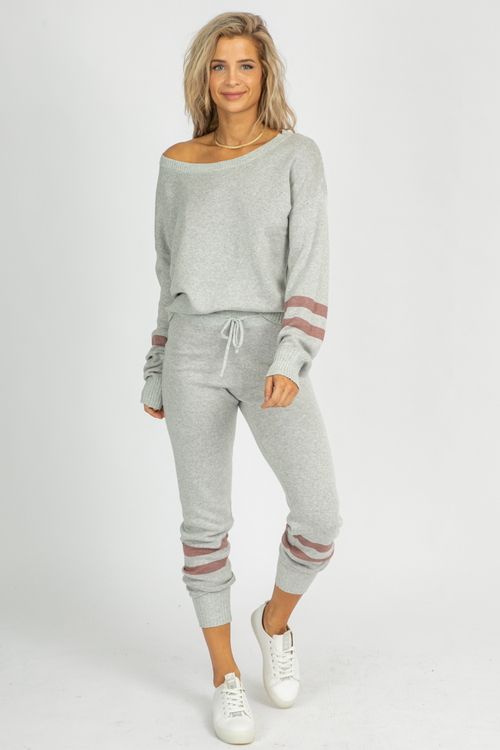 GREY VARSITY STRIPED SET