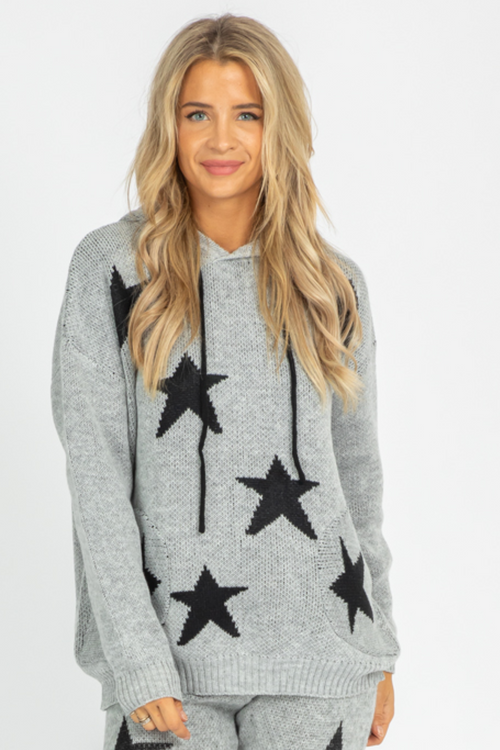 GREY + BLACK STAR KNIT HOODIE